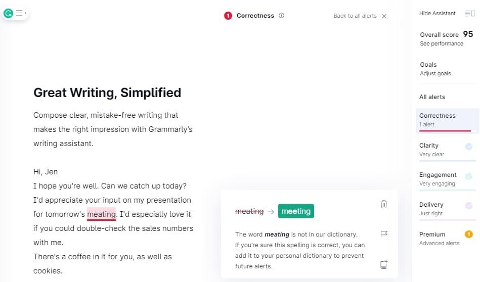 Writing tool Grammarly screenshot