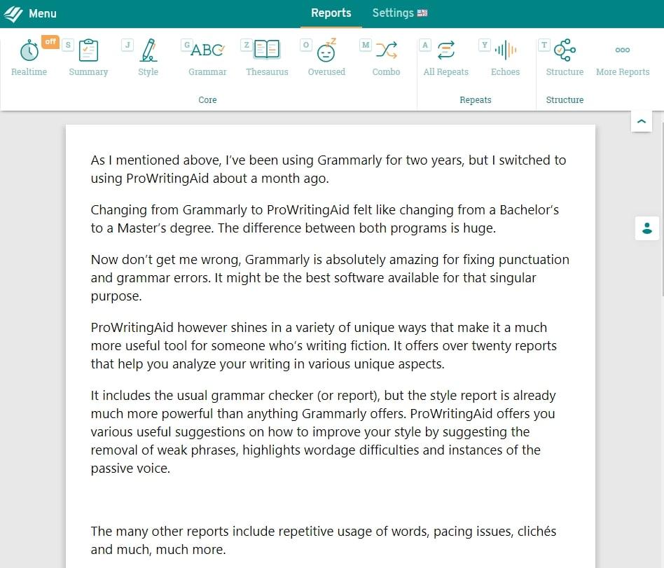 Writing tool ProWritingAid screenshot