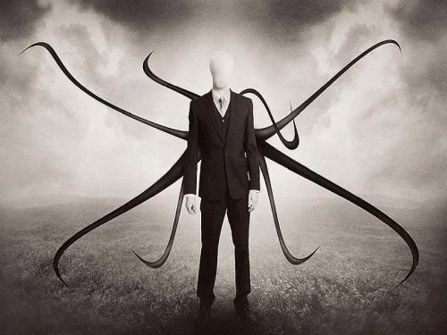 A picture of the best creepypasta character Slender Man.